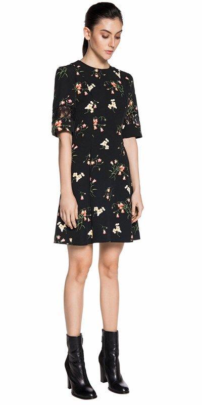 CUE - Floral Print Flare Hem Dress