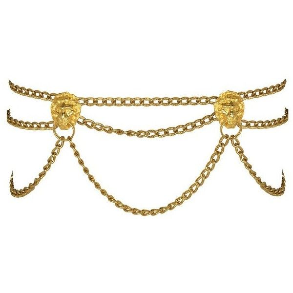 Kenneth Jay Lane Lion Link Belt ($350) ❤ liked on Polyvore featuring accessories, belts, gold, gold belts and kenneth jay lane