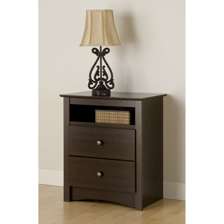 fremont 2drawer tall night stand with open cubbie espresso nightstands at hayneedle