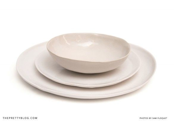 White ceramic plates & bowl from @Bespoke Press   Photo: Sam Floquet