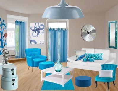 tr s tendance ce salon aux couleurs taupe et turquoise de quoi mettre de bonne humeur venez. Black Bedroom Furniture Sets. Home Design Ideas