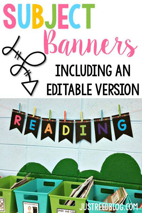 Organize your anchor chart areas, focus boards, centers, etc. with subject header banners in bright bold colors!  Packet includes banners for Reading, Math, Phonics, Language, Reading, Science, and Social Studies.  ALSO includes an editable black banner in two sizes that YOU can add your own font and message to!