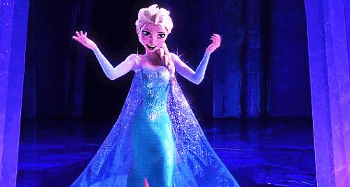 """""""You look different. It's a good different!"""" - Elsa/Elphaba gif. Disney's Frozen and Wicked crossover."""