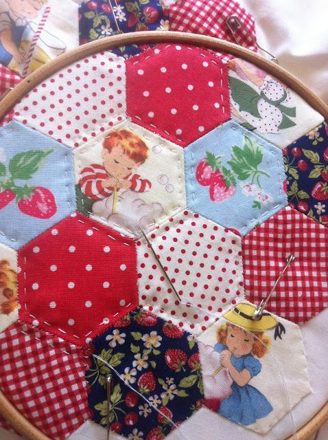 hand quilting hexies