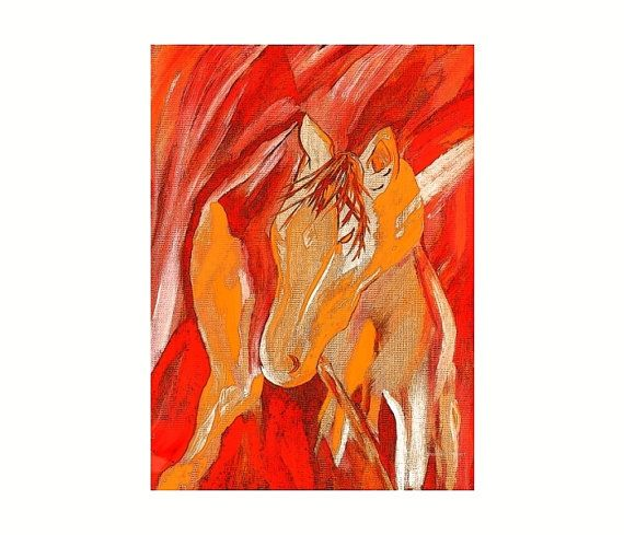 Southwest Horse Totem Mixed Media Painting by GrayWolfGallery.etsy.com