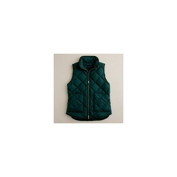 J Crew excursion quilted vest Clothes and Accesories ❤ liked on Polyvore featuring outerwear, vests, jackets, tops, coats, green vest, quilted vest, vest waistcoat, green waistcoat e j.crew
