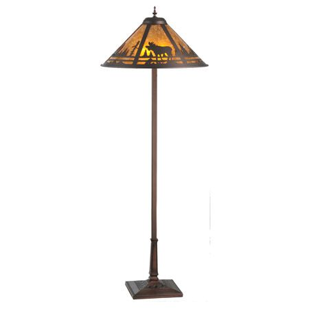 Craftsman floor lamp with amber mica and moose design.
