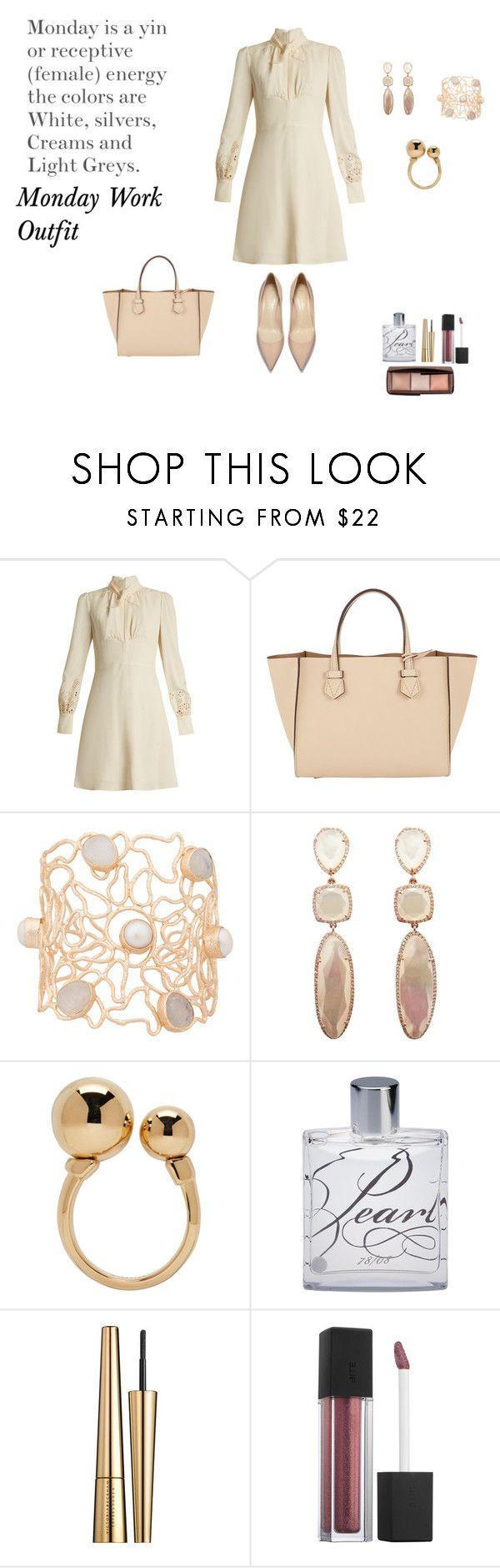 """Monday Work Outfit-White"" by rebeccadavisblogger on Polyvore featuring Chloé, Moreau, Atelier Mon, Apothia, Estée Lauder, Bite and Hourglass Cosmetics"