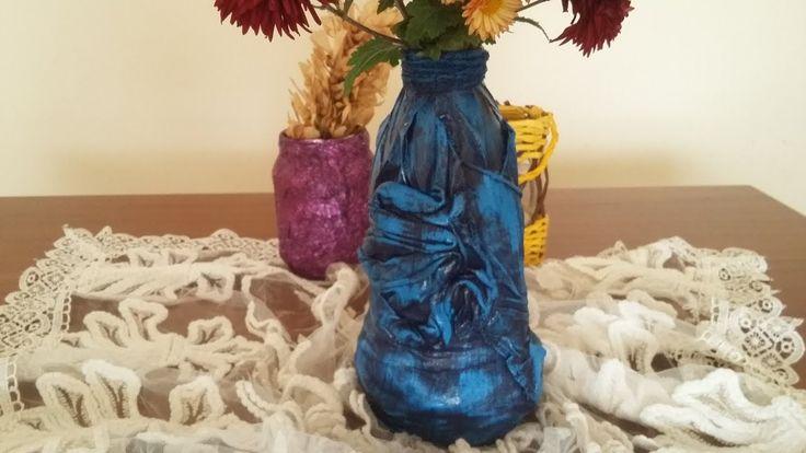 Şişe ve gazete ile seramik görünümlü vazo - Geri dönüşüm