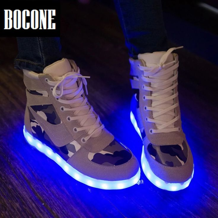 2016 New Arrival Women Men Casual Shoes LED Luminous Shoes Unisex  Camouflage Printed Sports Casual Shoes