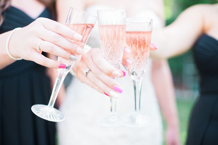 Pink champagne, pink nails, bride's maid and bride portrait  Wedding Cheers