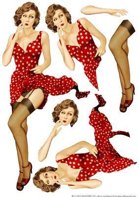 1950's Pin Up Girl Eva Grace Decoupage Sheet (retro)