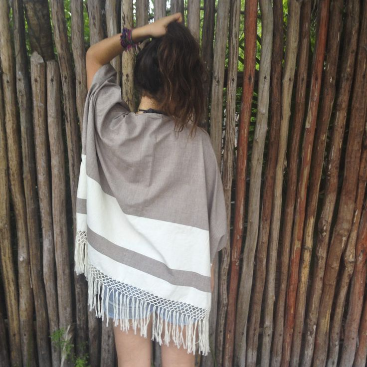 WIND FLOW OPEN PONCHO (BROWN) | Candor Home www.candorhome.com