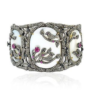 Shop Fine Jewelry Fine Bracelets Gemstone 0-7ct-Ruby-18k-Gold-Mop-Pave-Diamond-Sapphire-Spinel-Designer-Bangle-Bracelet