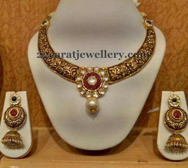 Jewellery Designs: Dull Finish Filigree Choker