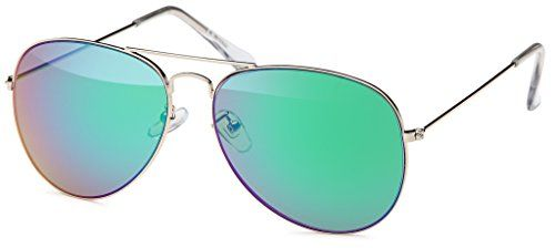BEZLIT Pilotenbrille Police Sonnenbrille Herren Sunglasses Sonne Brille B505, Rahmenfarbe:Silber;Linsenfarbe:Grün