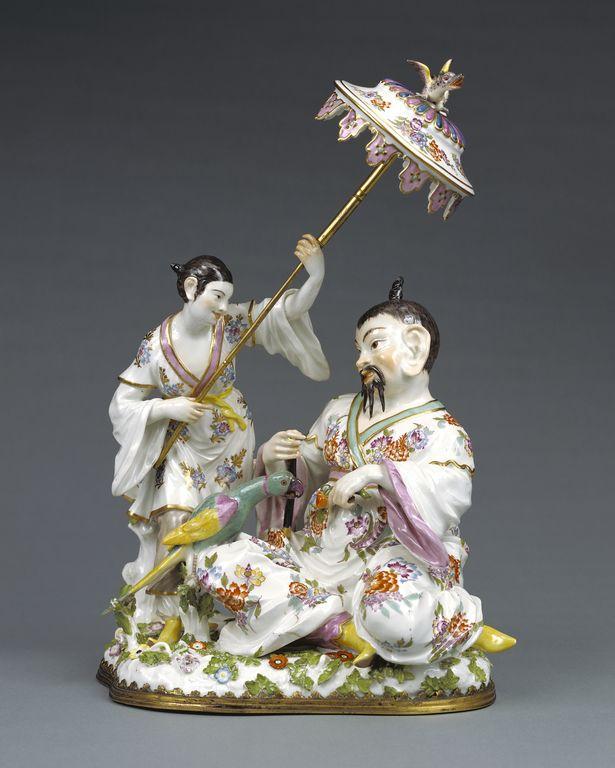 Group of Japanese Figures; Model by Johann Joachim Kändler (German, 1706 - 1775), Meissen Porcelain Manufactory (German, active 1710 - present); Meissen, Germany; about 1745; Hard-paste porcelain, polychrome enamel decoration, and gilding; gilt-bronze mounts.