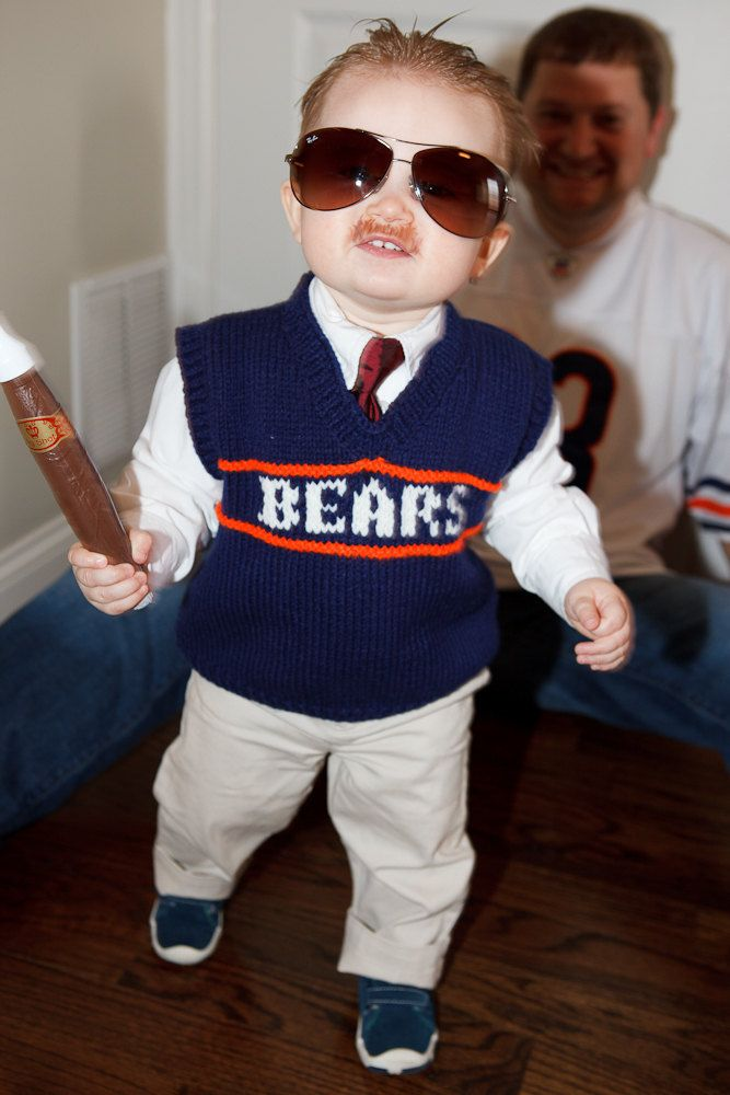 MADE TO ORDER, Child Knitted Ditka Sweater Vest - Chicago Bears $40.00, via Etsy.