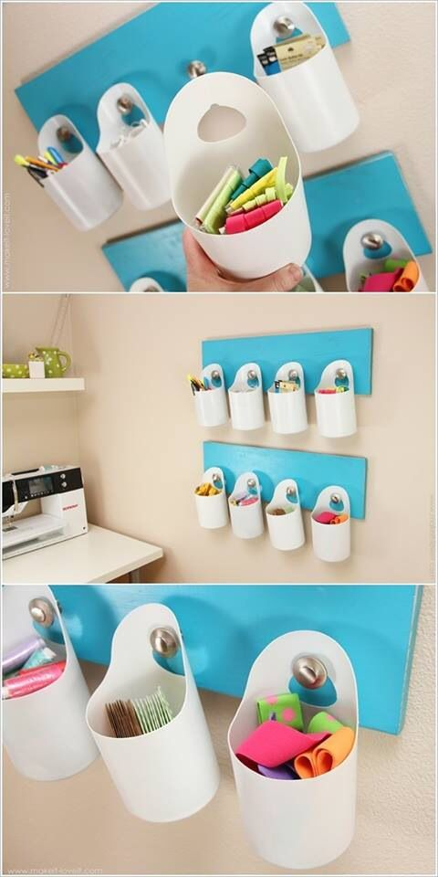 Use old bleach wipe containers as storage caddies! Courtesy of https://m.facebook.com/craftsdiy