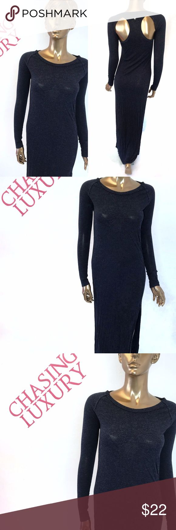 """Diesel Blue High Slit cut out L/S Maxi Dress sz S Brand:  Diesel Size: S $ 178 Color: blue Country/Region Of Manufacture: Bulgaria Measurements:            o       Bust: 35""""            o       Length: floor length             o       Shoulder: cut out            o       Arm:             o       Waist: 29""""            o       Rise:            o       Hips: 39""""  Condition: pre owned good condition Diesel Dresses Maxi"""