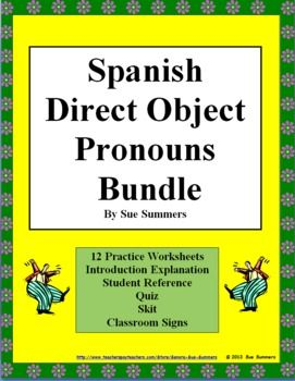 spanish direct object pronouns bundle practice skit quiz more spanish grammar spanish. Black Bedroom Furniture Sets. Home Design Ideas