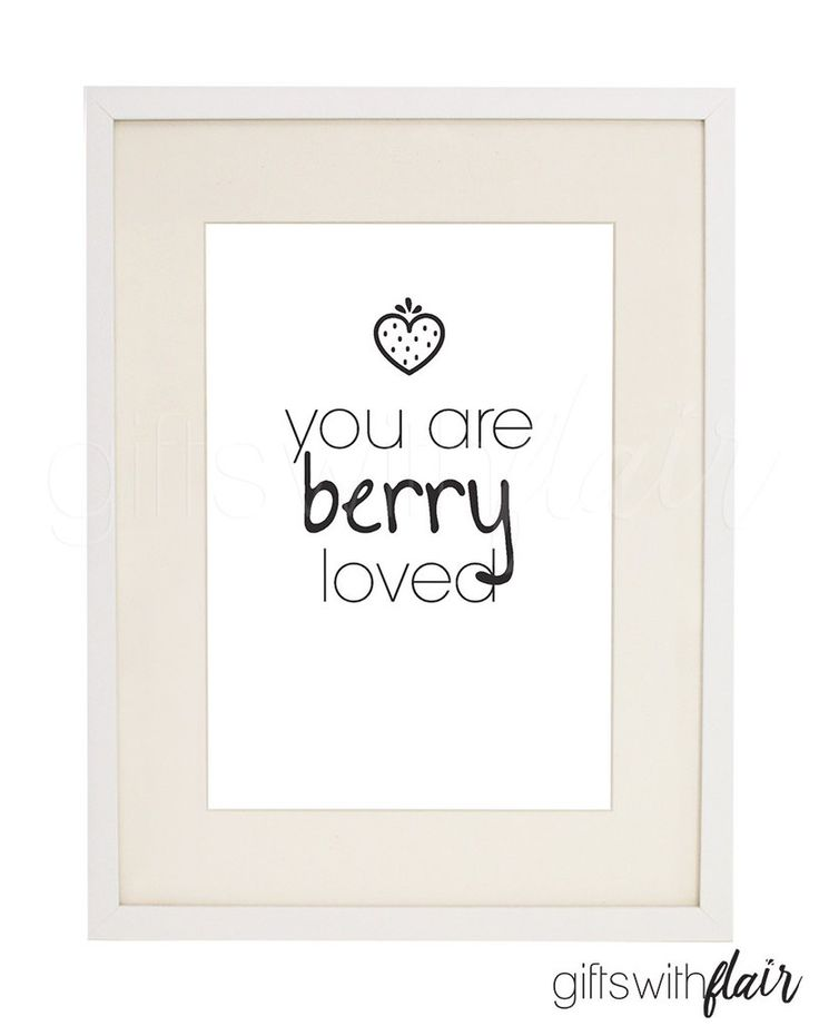 Gifts with Flair Decor Print | Mothers Day print printable for instant download | You are Berry loved | Heart Strawberry | Pun Funny | Australian-Owned Business