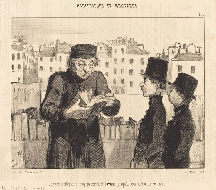 Jeunes collégiens... lavant jusqu'a leur dictionnaire latin | Honoré Daumier, Jeunes collégiens... lavant jusqu'a leur dictionnaire latin (1846)