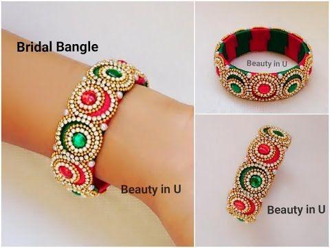 How to make Designer Bridal Bangle at Home | Silk Thread Bangle | Tutorial - YouTube