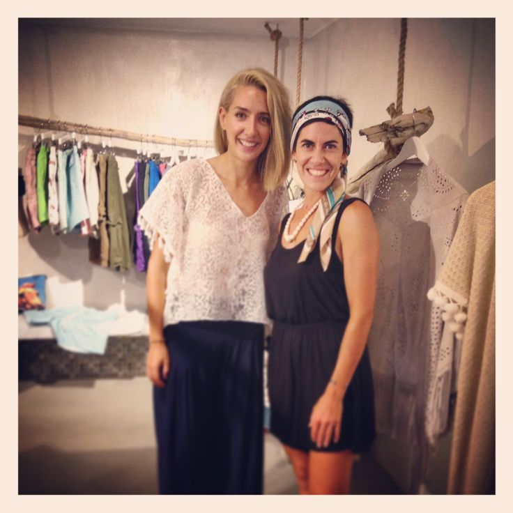 "Elena Zournatzi, designer & owner of ""Grecian Chic"" with Vasia Roumelioti, owner of ""Under a Fig Tree Boutique""!"