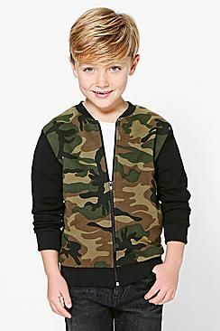 Boys Camo Contrast Bomber Jacket