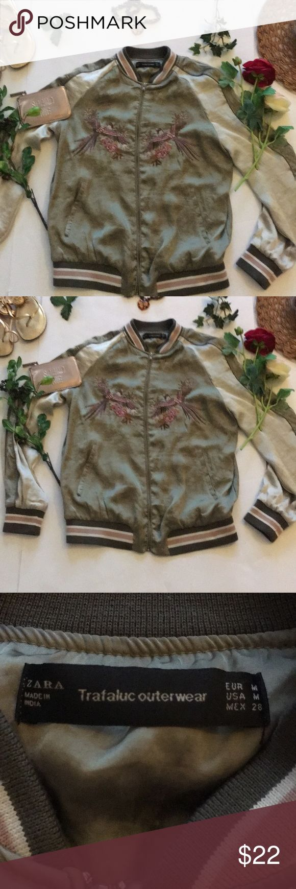 ❤Zara Jacket❤ ❤in good used condition Zara Bomber Jacket in size Medium❤Shows sign of wear❤Has a small discoloration on the front which is pictured on last photo❤ Zara Jackets & Coats