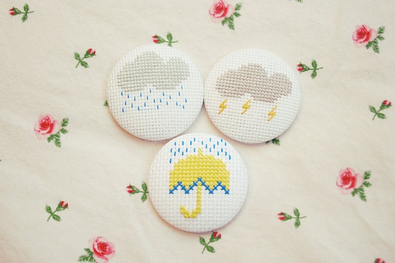 Cross Stitch buttons/Pins