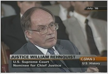Prior to confirmation hearings for Judge John Roberts, a compilation of the Senate Judiciary Committee hearings for Justice William Rehnquist's nomination as Chief Justice was shown. Justice Rehnquist gave his testimony from July 29 through August 1 of 1986. Portions were drawn from the second day of hearings on July 30, 1986.  Justice Rehnquist responded to questions from committee members about his views regarding such topics as voter intimidation, cameras in the courtroom,