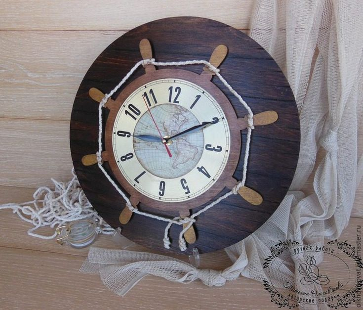 Сегодня мы вместе с вами будем делать часы из «старых досок», на которые меня вдохновила заготовка от «Чип-арт» — основа под часы «Капитанский мостик» в форме штурвала.