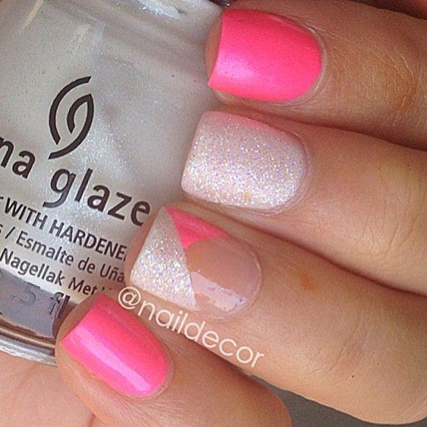 hot pink and glitter mani