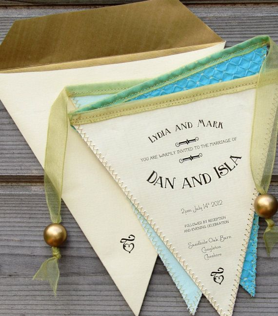 Bunting Wedding Invitation in Fabric and Paper by PostmansKnock, £39.00