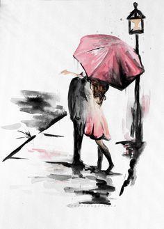 Coppie con ombrello romanticismo pittura bacio sotto la pioggia