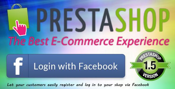Increase your Prestashop conversion rate and sales with Login with Facebook module Auto login in with Facebook Connect profile credentials. Module installation is simple and fast Compatibility PrestaShop v1.2.1.0 - v1.5.6.0