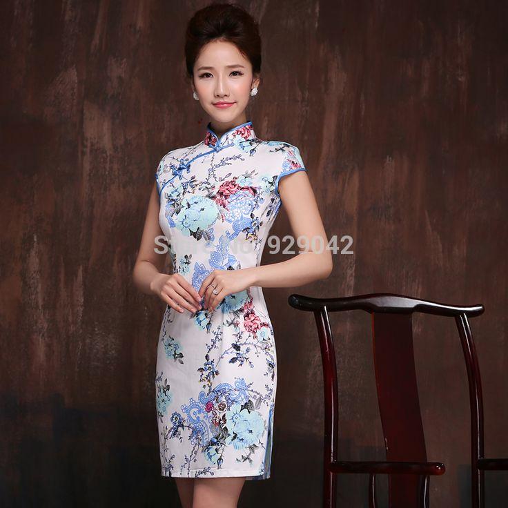 2014 vintage elegante chinese stijl mooie korte jurken afdrukken katoenen jurk qipao cheongsams xxl vrouwen in  van  op Aliexpress.com