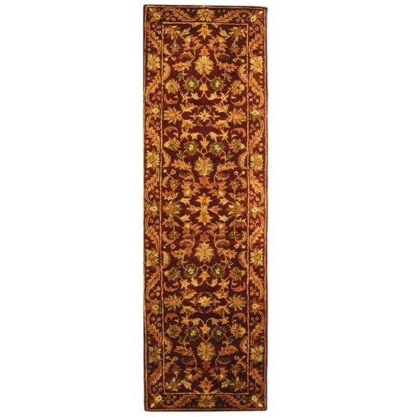 Safavieh Handmade Exquisite Wine/ Gold Wool Runner ($169) ❤ liked on Polyvore featuring home, rugs, red, red rose rug, gold area rugs, wool runners, rose rug and gold runner
