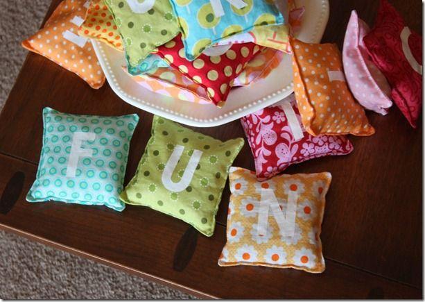 Alphabet Bean Bags tutorial: Presents Ideas, Birthday Presents, Bags Tutorials, Gift Ideas, Alphabet Beans, Beans Bags, Christmas Gift, Sewing Tutorials, Birthday Ideas