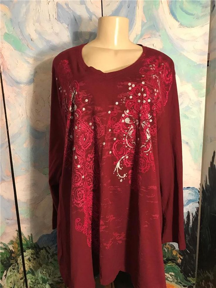 Just My Size Plus 3x Maroon Sparkle Artsy V-Neck Cotton Long Sleeve Tunic Top #JustMySize #Tunic #Casual