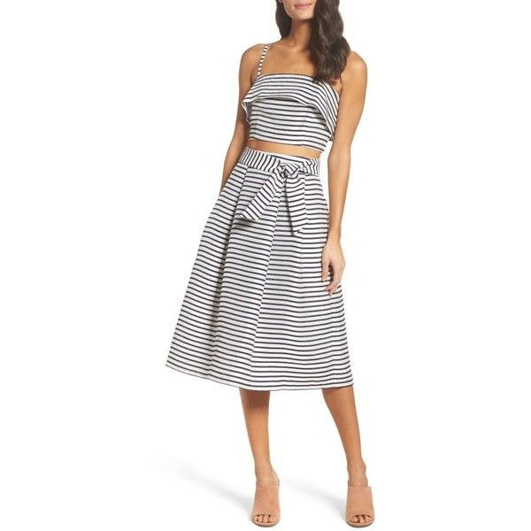 Women's Bb Dakota Grace Stripe Two-Piece Dress ($250) ❤ liked on Polyvore featuring dresses, ivory, 2-pc dress, bb dakota dresses, white stripe dress, winter white dress and jacquard dress