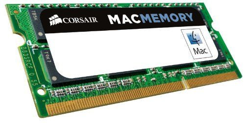 Corsair Apple Certified 4GB (1x4GB) DDR3 1066 MHz (PC3 8500) Laptop Memory (CMSA4GX3M1A1066C7). Timing: 7-7-7-20 (1066MHz). Tested at Apple's Compatibility Labs to ensure best form, fit and function with all current products that have official Apple support for 4GB SO-DIMMs. Format: So-dimm. Speed: 1066mhz Cl7. Adding system memory is one of the most effective ways to improve overall performance and Corsair's Mac Memory offers customers a solid solution with limited lifetime...