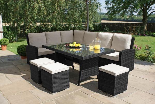 9 Seater Rattan Outdoor Corner Sofa Set Black Weave Garden