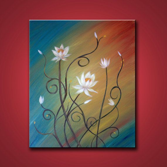 Original Painting- LOTUS LOVE- White flowers on teal/ green/ yellow/ red background. Abstract Floral Art. GIFT size Canvas dimensions- 16 x 20 3/4 Stretched gallery wrapped canvas. Sides painted black, staples on back, NO FRAMING REQUIRED. Medium- Artist quality acrylic paint on canvas. Initialed in the front and signed and dated by the artist on the back. Display in the rooms not to scale. Bookmark (ColorBlast) will not appear on the painting. Will ship ite...