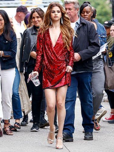 Selena Gomez red dress highlights