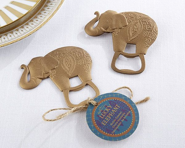 When celebrating any milestone, bring a little luck to the party with our Lucky Golden Elephant Bottle Opener! Perfect for Asian and Indian weddings, this beautiful golden elephant bottle opener is the perfect addition to your wedding or bridal shower.