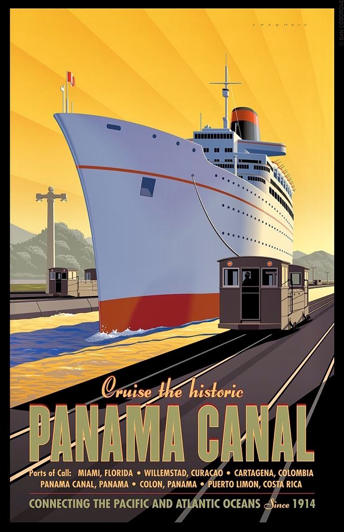 canal de panama cruise ships travel posters vintage travel posters travel