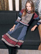 Платье с геометрическим узором и высоким воротником